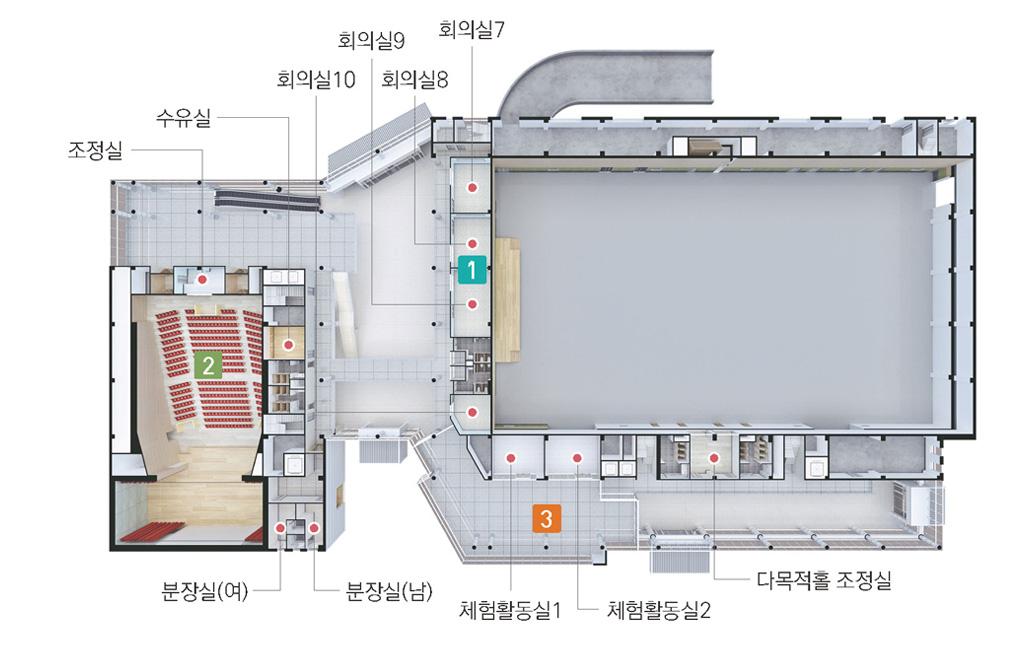 다목적홀 2층에는 회의실7, 회의실8, 회의실9, 회의실10, 체험활동실1, 체험활동실2, 다목적홀 조정실이 있으며, 콘코스홀 2층에는 분장실(여), 분장실(남), 수유실, 조정실이 있습니다.