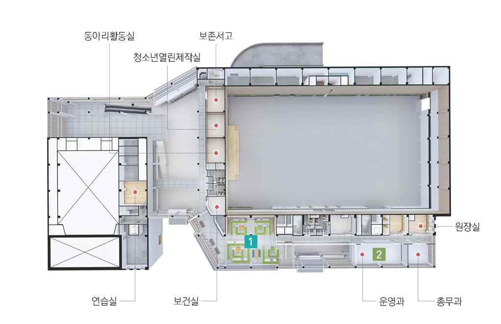 3층 다리를 기준으로 보존서고, 청소년열린제작실, 동아리활동실, 보건실, 운영과, 총무과, 원장실이이 있으며, 왼쪽에는 연습실이 있습니다.