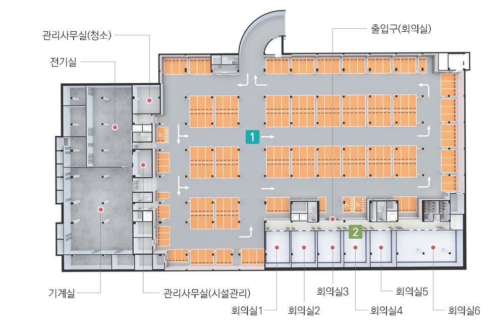 왼쪽부터 시계방향으로 관리사무실(청소), 회의실6, 회의실5, 회의실4, 회의실3, 출입구(회의실), 회의실2, 회의실1, 관리사무실(시설관리), 기계실, 전기실이 있습니다.