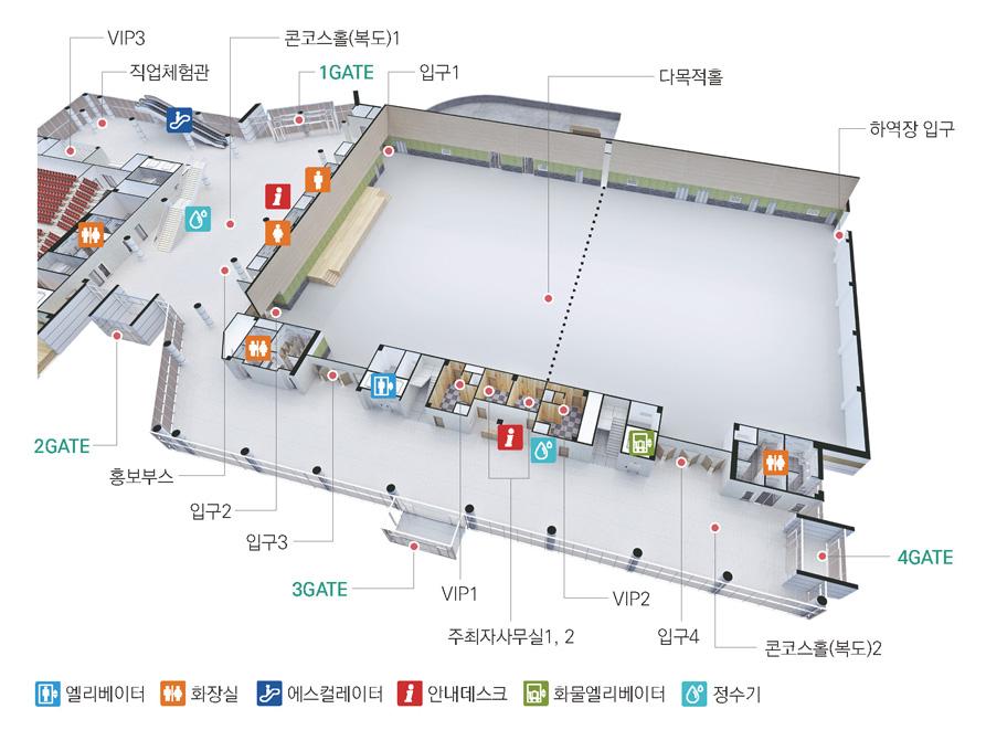 1GATE를 기준으로 오른쪽부터 입구1, 다목적홀, 하역장 입구, 4GATE, 화장실, 콘코스홀(복도)2, 입구4, 화물엘리베이터, VIP2, 정수기, 안내데스크, 주최사사무실1,2, VIP1, 3GATE, 엘리베이터, 입구3, 화장실, 입구2 홍보부스, 2GATE, 화장실, 정수기, VIP3, 직업체험관, 에스컬레이터가 있습니다.