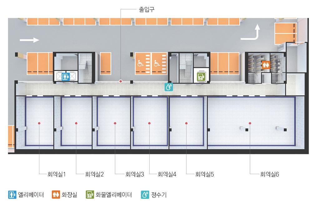 엘리베이터를 기준으로 오른쪽부터 출입구, 정수기, 화물엘리베이터, 화장실이 있으며 그 반대편에는 회의실6, 회의실5, 회의실4, 회의실3, 회의실2, 회의실1이 위치해 있습니다.