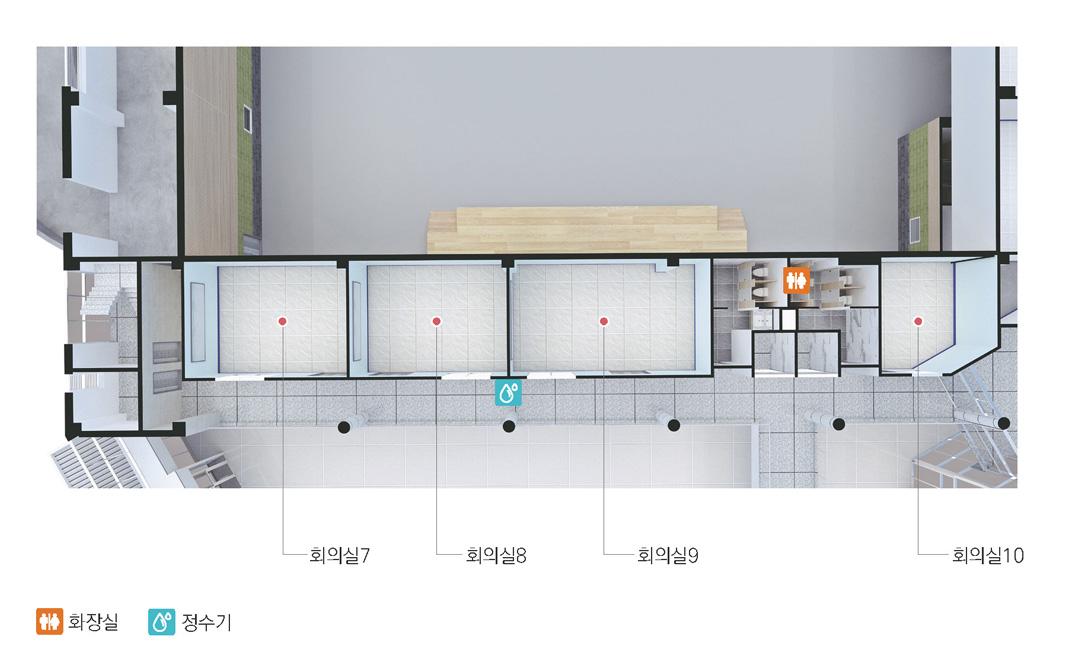왼쪽부터 회의실7, 회의실8, 정수기, 회의실9, 화장실, 회의실10이 위치해 있습니다.